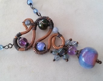 Gothic Blues Beaded Necklace with Artisan Copper Pendant