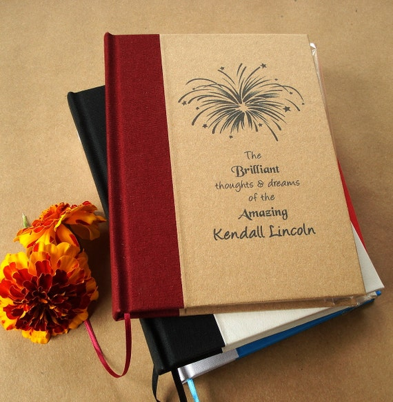 """INSPIRE with a Custom Blank Journal · Diary · Notebook - You Design the Cover. 5 x 7"""". Personalized Diary, Made to Order"""