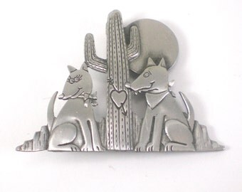 JJ Dog Brooch Pin - Dogs In Love - Coyote Brooch - Vintage Jewelry