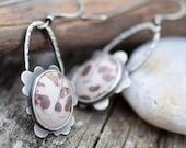 Sterling Silver Dangle Earrings, Flower Jasper Earrings, Oxidized Silver Assymetric Earrings, Botanical Jewelry, Handmade Artisan Metalwork