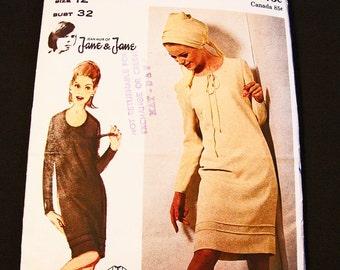 1960s JEAN MUIR Butterick Dress Pattern Couturier Designer Pattern Misses Size 12 Womens Shift Dress Pattern Vintage Sewing Pattern