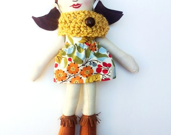 """Brunette Cloth Heirloom Doll, 18"""" with Brown Hair, Yellow Scarf READY to SHIP soft doll, rag doll, fabric doll christmas doll gifts under 50"""