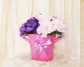Pail of Flowers in Pinks & Purples