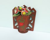 Vintage Folk Art Wooden Wall Pocket, Handmade with a Painted Red Flower and Green Leaves
