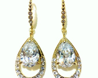 Bridal Earrings, Dangle Wedding Earrings, Cz Drop Earrings, Teardrop Bridal Jewelry, Cubic Zirconia Silver or Gold Wedding Jewelry, AMELIA