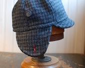 Flapjack M: winter earflap hat cozy grey and blue houndstooth wool tweed