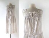 Vintage Edwardian Nightgown / White Cotton Dress / 1910s Dress / L XL