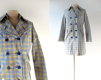 Vintage 60s Coat | Blue and Yellow | Houndstooth Jacket | Women's Raincoat | S M