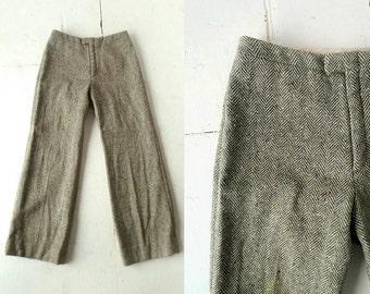 Vintage Wool Trousers / Herringbone Tweed Pants / Wide Leg Pants / John Meyer / 28W Small