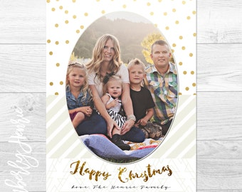 Chic White, Gold, and Cream- Custom Christmas Holiday Greeting Card