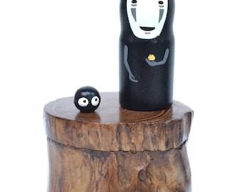 Spirited Away No Face TEAK WOOD BOX doll Ghibli figure 87