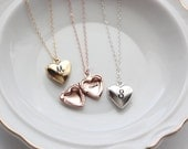 Personalized Heart Locket - Personalized Locket Necklace Engraved Mini Locket Christmas Gift, Personalized Gift, Locket Necklace, Bridesmaid