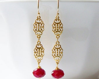 Red Wine and Gold Earrings