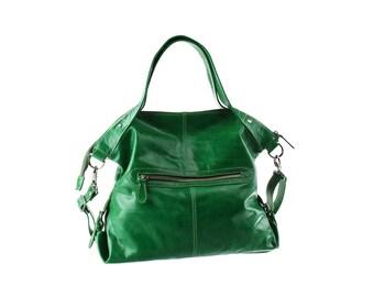 SALE - Green Leather Shoulder Bag, Handbag, handbag, Purse, Women Handbag, artoncrafts