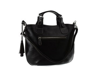 SALE - Black leather handbag, women leather purse, shoulder leather bag, leather tote, handbag with tassel