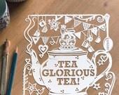 Template! Tea Glorious Tea Papercut