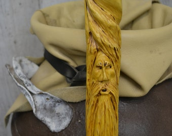 Walking Cane - Carved Wood Spirit Face Cane - Hand Carved walking cane - mountain man - functional art - ren faire - 1237