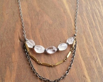 Long Multi Chain Rose Quartz, Brass, Oxidized Sterling Silver Necklace. Mixed Metal, Pink Amethyst Gemstone Jewelry