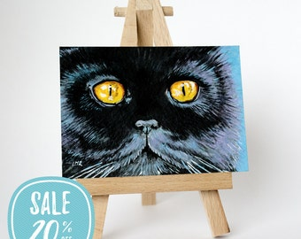 ON SALE | Original black cat ACEO - Salem Persian Yellow Eyes by Lisa Marie Robinson