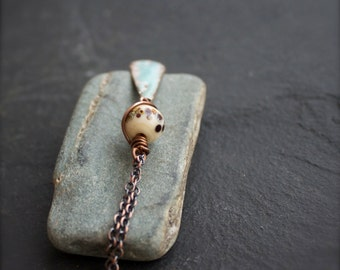 Vitreous Glass Enamel Necklace - Cream White, Aqua Blue, Copper Teardrop Pendant, Rustic Copper, Spotted Glass Jewelry