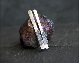 Blue Mystic Quartz Stick Post Earrings - Gemstone Wire Wrap Bar Long Oxidized Sterling Silver Metalwork Boho Jewellery