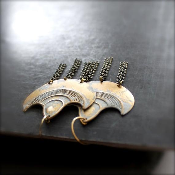 White-Wash Patina Shield Earrings - Chandelier Dangle, Gold Brass, Chain Tassel Fringe, Large Statement Jewelry, Boho Tribal