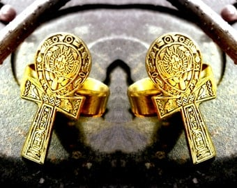 Hammered Brass Vintage Egyptian Ankh Ring Hand Crafted Artisan Adjustable Jewelery
