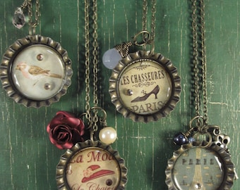 Vintage style bottle cap necklaces (1 left-Red Hat/Rose)