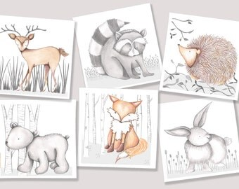 Woodland Set of Six Prints