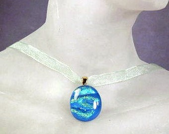 """Dichroic Glass """"Shimmering Seas"""" Choker ~ Ribbon Necklace with Blue-Green Dichroic Glass Pendant ~ adjustable 14-16 inches"""