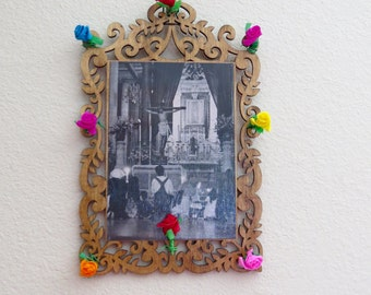 Vintage Mass Photograph at the Basilica de GUADALUPE in Mexico with Antiqued Wood Shrine- A peek into history