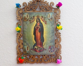 Reproduced Antique Lithograph GUADALUPE Wood  Shrine-  Stunning colors
