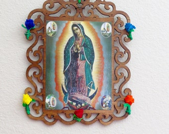 Reproduced Antique Chromo GUADALUPE Wood  Shrine-  Stunning colors- Perfect for your Religious altar