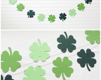 4 Leaf Clover Garland - 4.75 inch tall Clover - St Patricks Day Shamrock Shamrock Garland St Patricks Day Banner Banner St Patty Decoration