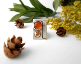 carnelian ring, sterling silver , size 7.5 cocktail ring, orange ring, ready to ship