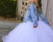 Diamond White - Flower Girl Tulle Skirt in White - Sewn long length tutu skirt - choose your size and length - weddings - portraits