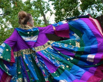Flash Sale- Upcycled Vintage Silk Sari Saree Coat with a Medieval Liripipe Hood by SnugglePants- Extra Long- Ready to Ship