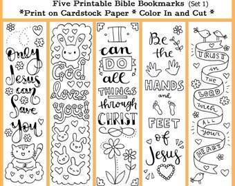 Five Instant Printable Color In Cute Bible Bookmarks {UNLIMITED USE} (Set 1)
