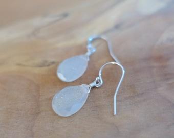 Druzy Earrings, White Druzy Earrings, Rock Quartz Druzy Drop Earrings, Sterling Silver Druzy Earrings, Rose Gold Filled White Druzy Earrings
