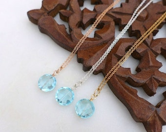Blue Topaz Necklace, Rose Gold Blue Topaz Necklace, Sterling Silver Blue Topaz Necklace, Gold Filled Chain Necklace, Blue Topaz Disc Pendant