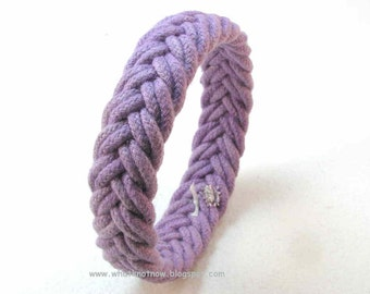 double purple rope bracelet herringbone weave sip on turks head knot sailor bracelet rope jewelry 3076