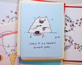 Cake and ice cream kinda day - Funny Cat Card