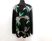 Vintage 90s Black Oversized Slouchy Tunic Sweater Koala Bear Tree Print Kitsch Novelty Animal Cotton M Medium