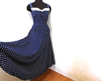 Vintage 80s does 40s Navy Blue Polka Dot Full Skirt Maxi Sun Dress Nautical KAREN ALEXANDER Summer Sailor Pinup NOS Medium 8