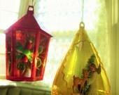 Vintage Jewel Brite Ornaments, Vintage Plastic Ornaments, Vintage Christmas Decor, Diorama Ornaments, 1960s Ornaments, Kitschy Xmas