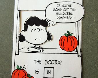 Vintage Peanuts Halloween Card, Lucy Halloween, Humorous Halloween, Charles Schulz, Hallmark Halloween, Vintage Greeting Card, Retro Peanuts