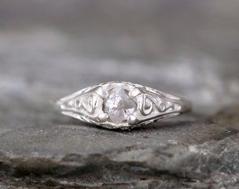 Antique Style Raw Diamond Engagement Ring - Rough Uncut Rough Diamond Gemstone and Sterling Silver Filigree Ring  - April Birthstone