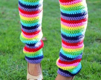 Rainbow Leg Warmers - Over-the-Knee - Crochet Leggings - Thigh High Legwarmers