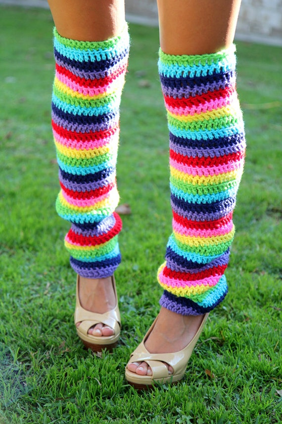 Rainbow Leg Warmers - Over-the-Knee - Crochet Leggings - Thigh High Legwarmers