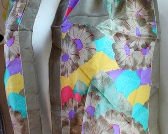 ELAINE GOLD Scarf FLORAL Silk Long Vintage